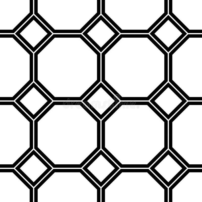 Modello senza cuciture geometrico in bianco e nero illustrazione vettoriale
