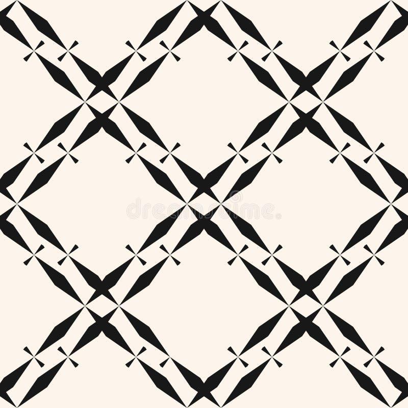 Modello senza cuciture geometrico in bianco e nero dell'estratto di vettore con la griglia del diamante royalty illustrazione gratis
