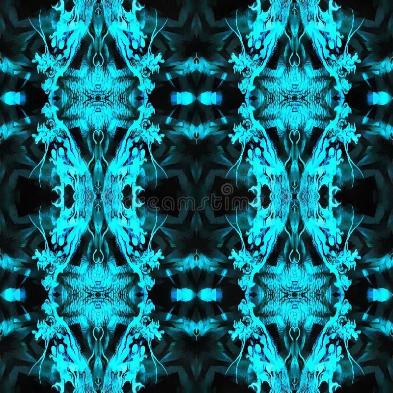 Modello senza cuciture geometrico blu di Ikat immagine stock