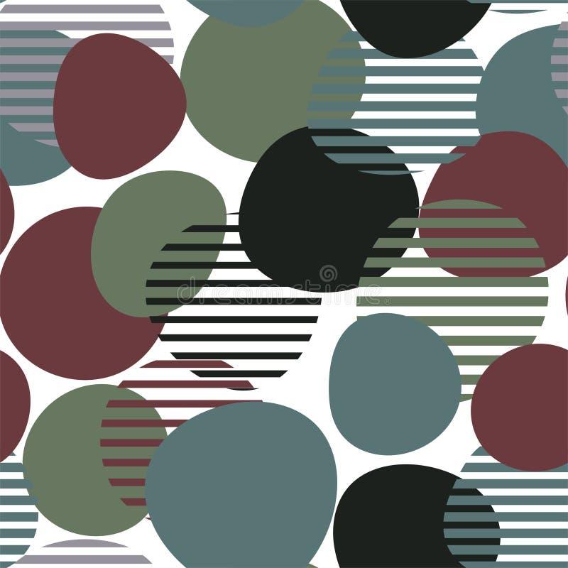 Modello senza cuciture geometrico con di cerchi e delle le bande colorati multi Vettore illustrazione di stock