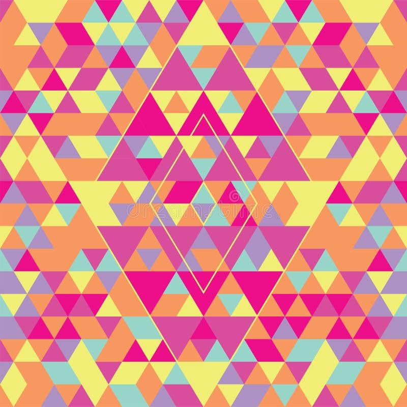 Modello senza cuciture geometrico con i triangoli variopinti Rosa, giallo e porpora illustrazione vettoriale