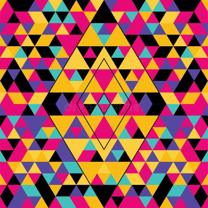 Modello senza cuciture geometrico con i triangoli variopinti Rosa, giallo, nero e porpora illustrazione vettoriale