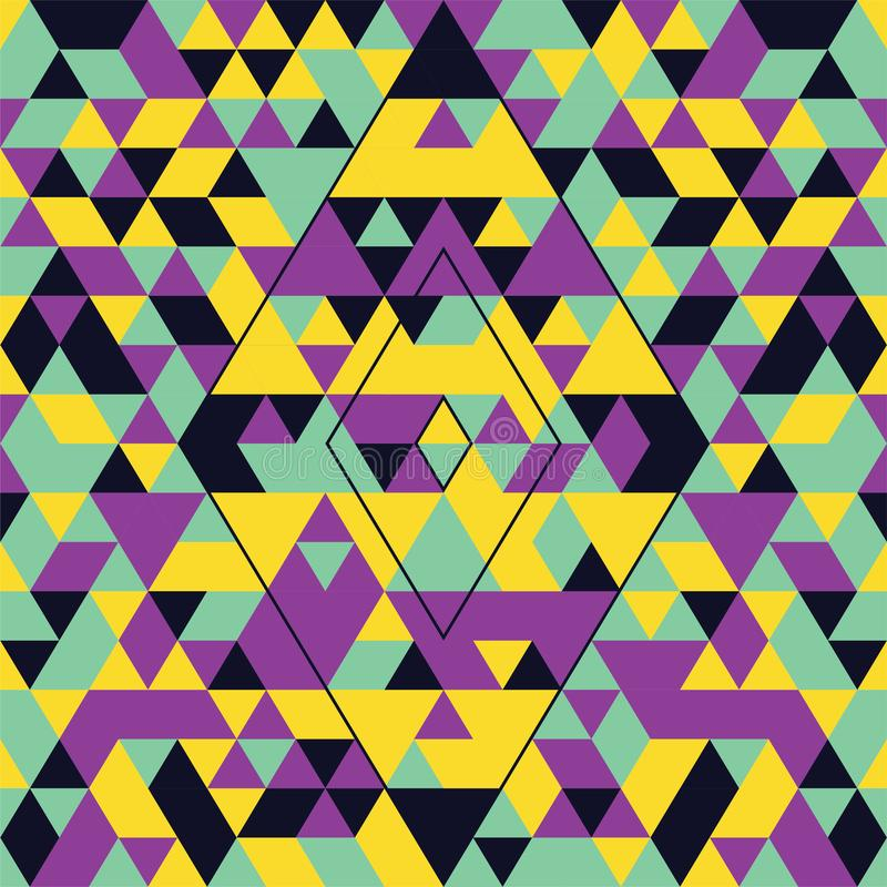 Modello senza cuciture geometrico con i triangoli variopinti Turchese, giallo e porpora immagini stock