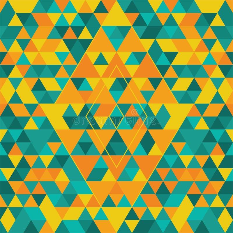 Modello senza cuciture geometrico con i triangoli variopinti Turchese, giallo ed arancio illustrazione vettoriale