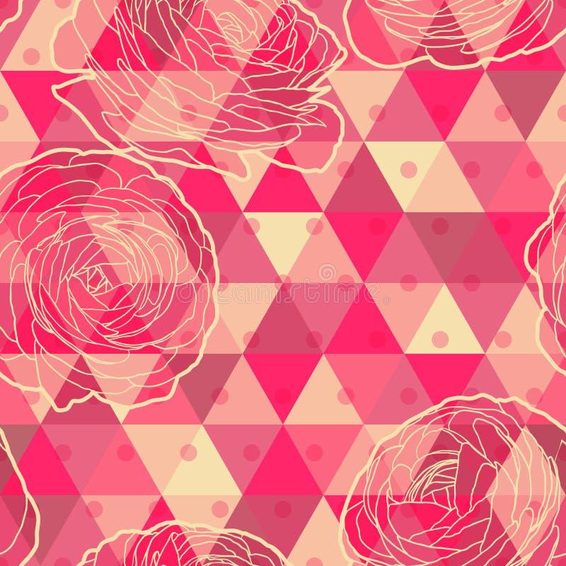 Modello senza cuciture geometrico del fiore illustrazione vettoriale
