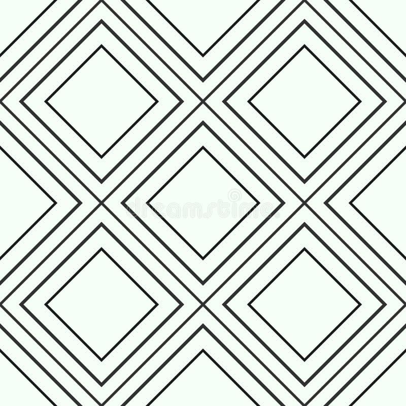 Modello senza cuciture geometrico dell'oro e nero delle linee o colpi diagonali, fondo astratto del rombo brillante e nero dorato royalty illustrazione gratis