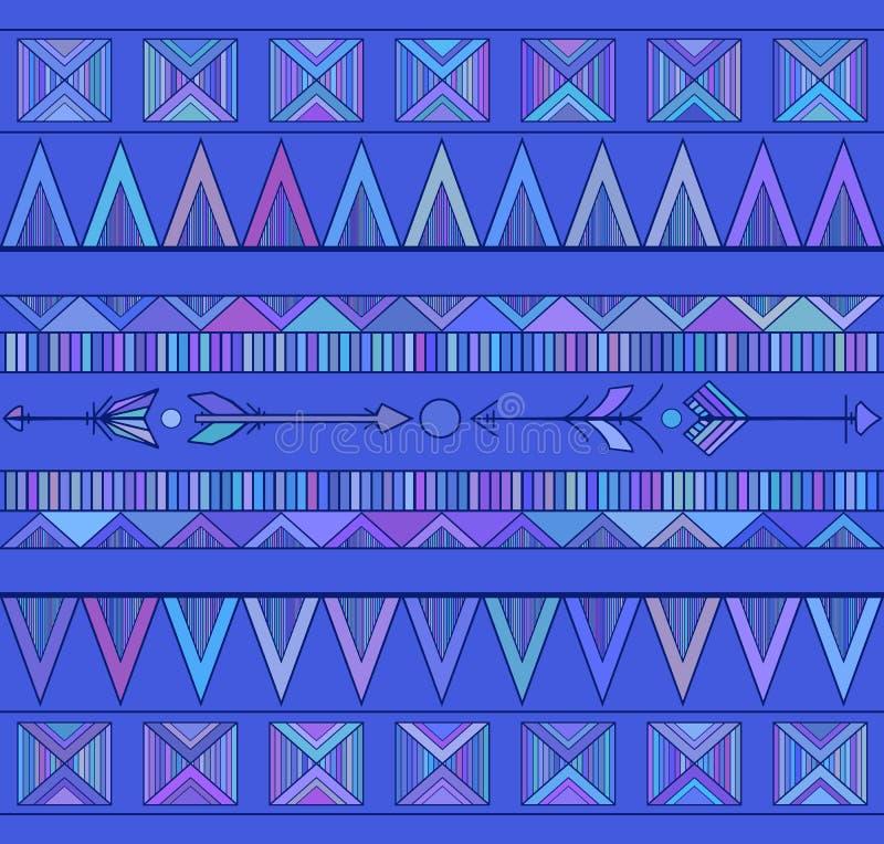 Modello senza cuciture geometrico di Boho con le frecce in tonalità del blu royalty illustrazione gratis