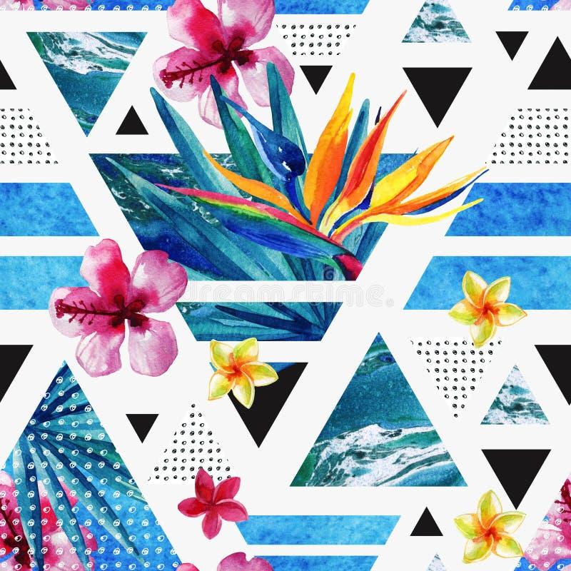 Modello senza cuciture geometrico di estate astratta con i fiori esotici illustrazione di stock