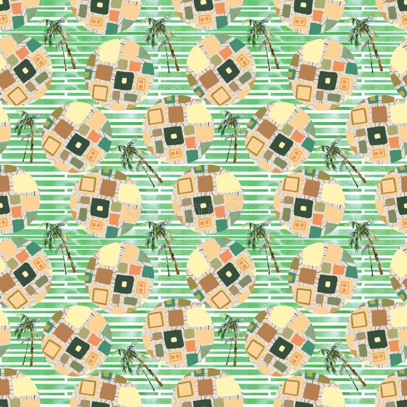 Modello senza cuciture geometrico di estate astratta Palma dell'acquerello, fondo dei cerchi Colore di acqua floreale, elementi m royalty illustrazione gratis
