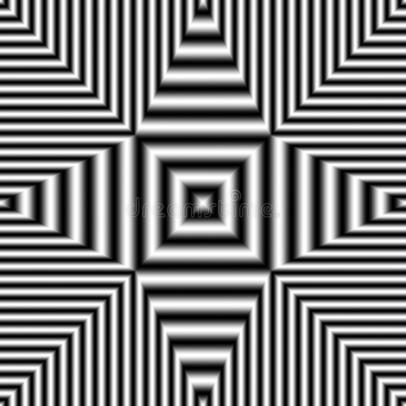 Modello senza cuciture geometrico di illusione ottica con le bande in bianco e nero royalty illustrazione gratis