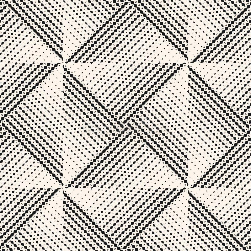 Modello senza cuciture geometrico di vettore in bianco e nero con le mattonelle di semitono del triangolo illustrazione di stock