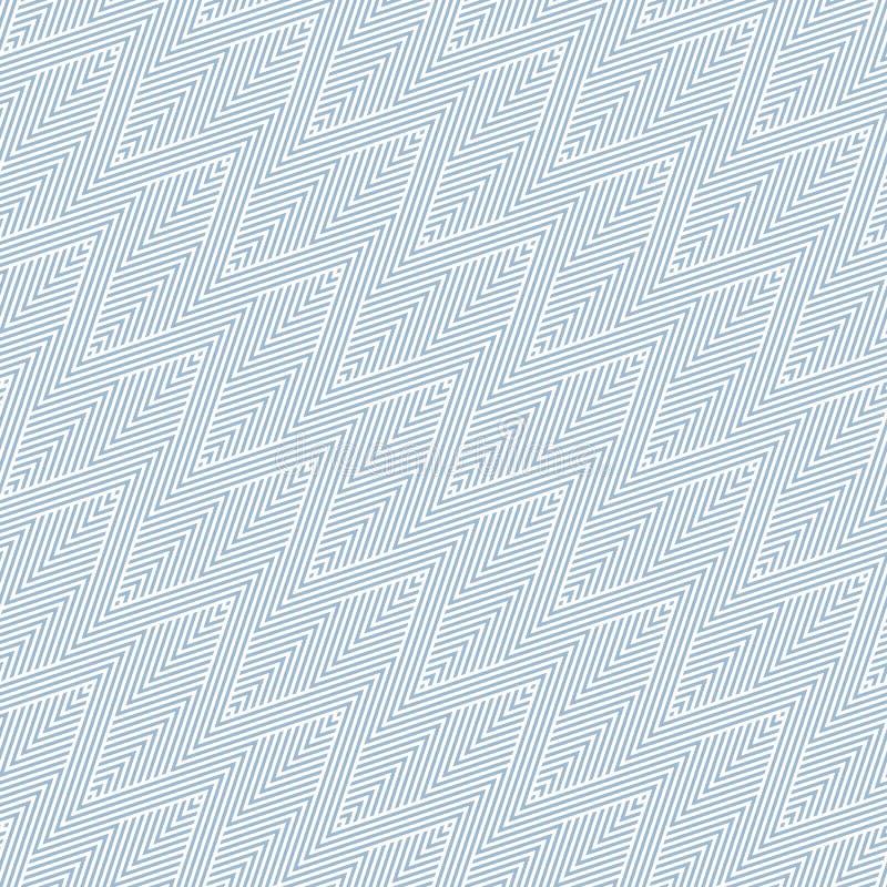 Modello senza cuciture geometrico di vettore blu con le bande di zigzag, linee diagonali royalty illustrazione gratis