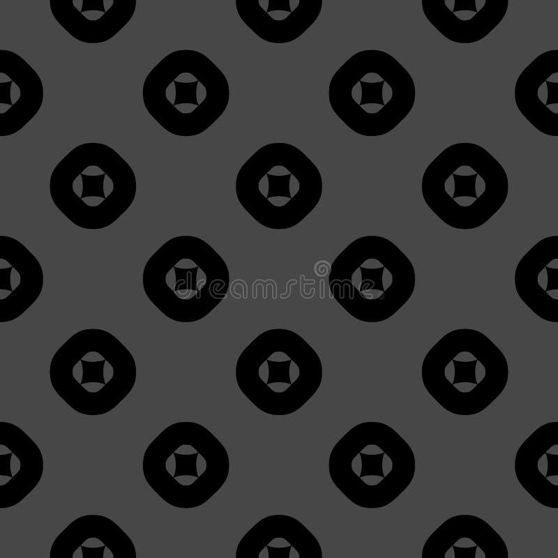Modello senza cuciture geometrico di vettore con i cerchi ed i quadrati Nero e grigio scuro royalty illustrazione gratis