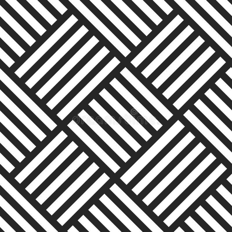 Modello senza cuciture geometrico di vettore Priorità bassa a strisce in bianco e nero illustrazione di stock