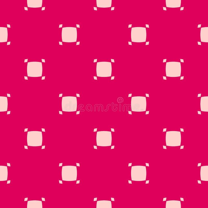 Modello senza cuciture geometrico di vettore semplice con i piccoli quadrati Colore rosso e rosa illustrazione di stock