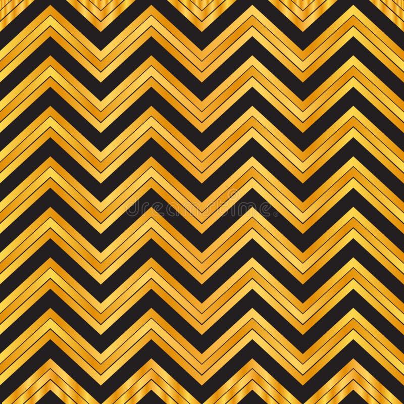 Modello senza cuciture geometrico elegante dell'oro e nero di zigzag fondo del modello del gallone, carta da imballaggio, modello illustrazione vettoriale