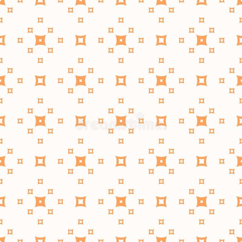 Modello senza cuciture geometrico minimalista di vettore con i piccoli quadrati arancio illustrazione di stock