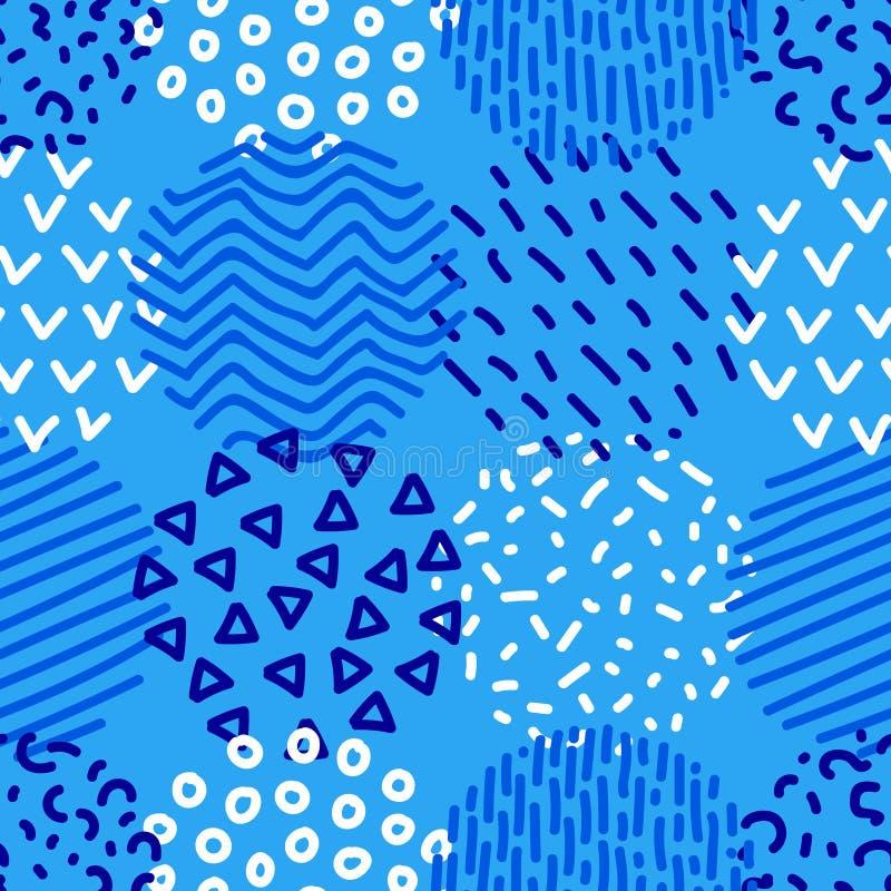 Modello senza cuciture geometrico modellato disegnato a mano dei cerchi in blu ed in bianco, vettore royalty illustrazione gratis