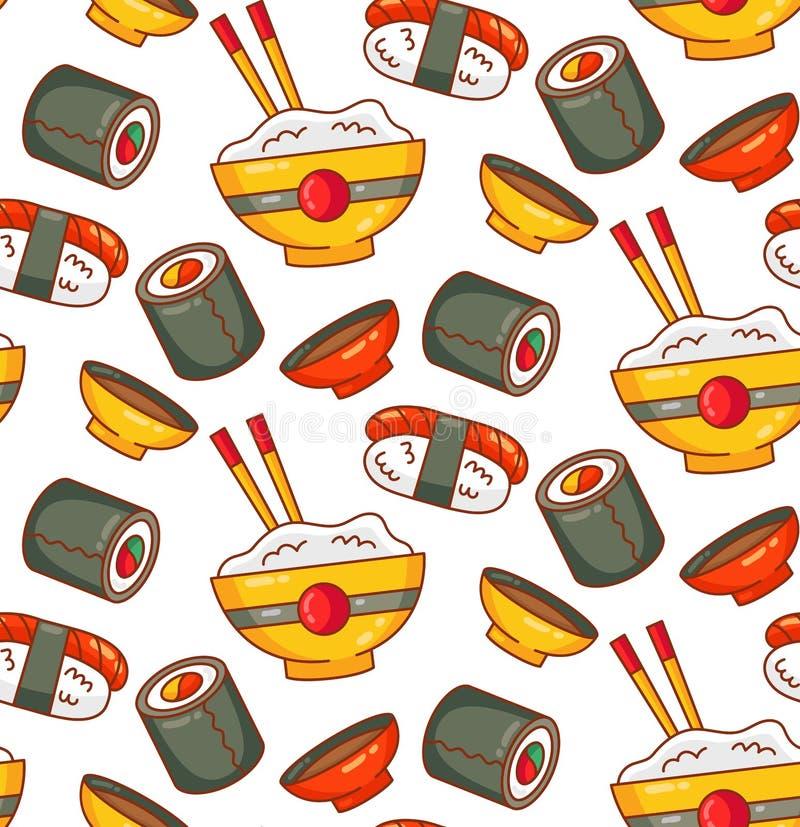Modello senza cuciture giapponese di vettore del rotolo di sushi delle icone dell'alimento illustrazione di stock