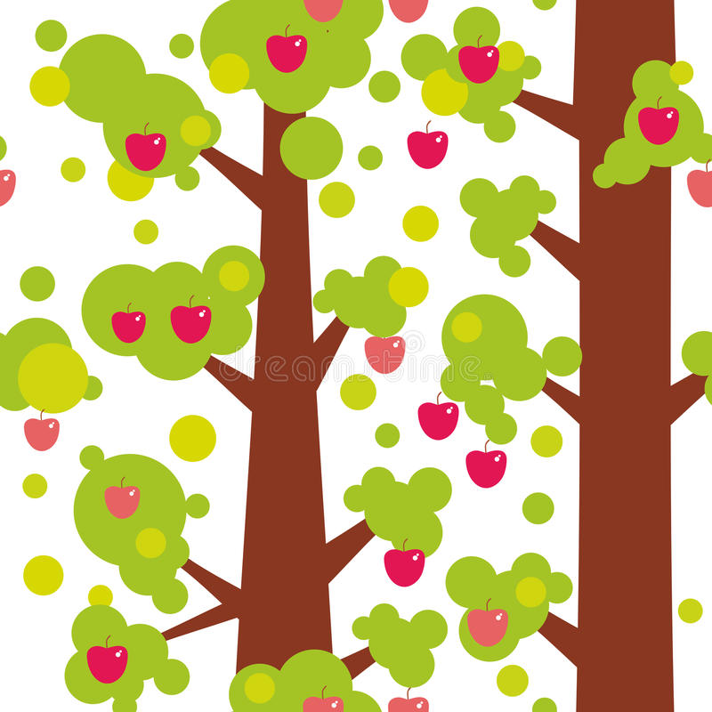 Modello senza cuciture - grandi alberi con le mele rosse e foglie verdi su fondo bianco Vettore illustrazione vettoriale
