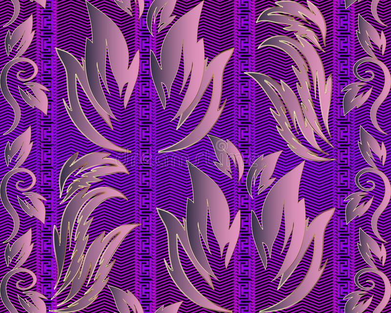 Modello senza cuciture greco di vettore barrocco floreale del damasco Orna di zigzag royalty illustrazione gratis