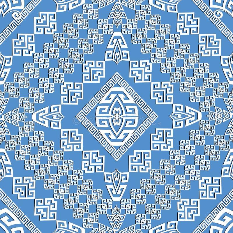 Modello senza cuciture greco geometrico blu-chiaro di eleganza royalty illustrazione gratis
