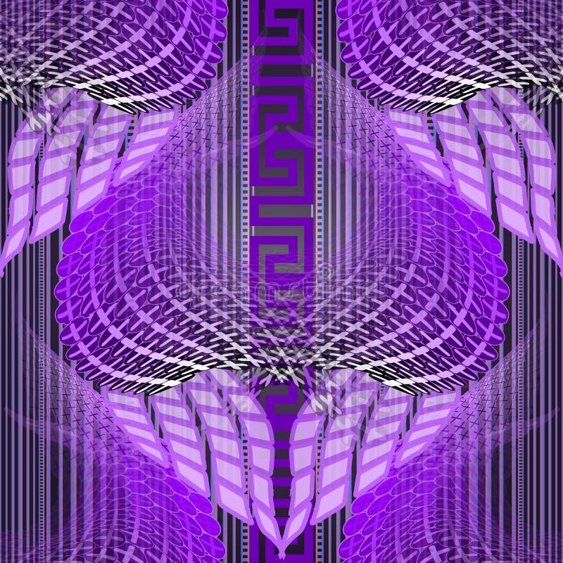 Modello senza cuciture illuminato d'ardore di vettore greco di meandri Fondo al neon vibrante di semitono a strisce Ripetizione v illustrazione vettoriale