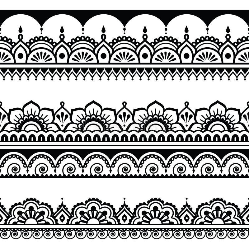 Modello senza cuciture indiano, elementi di progettazione - stile del tatuaggio di Mehndi illustrazione di stock