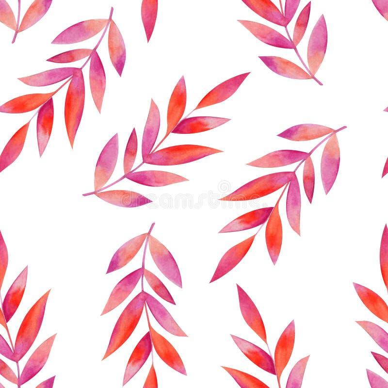 Modello senza cuciture laconico dei rami con le foglie rosa Illustrazione dell'acquerello illustrazione vettoriale
