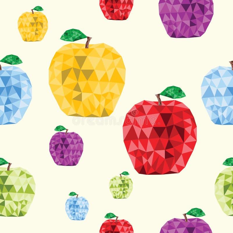 Modello senza cuciture Logo Icon di Apple Lowpoly illustrazione di stock