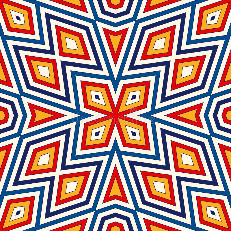 Modello senza cuciture luminoso con l'ornamento geometrico simmetrico Priorità bassa astratta variopinta Motivi etnici e tribali royalty illustrazione gratis