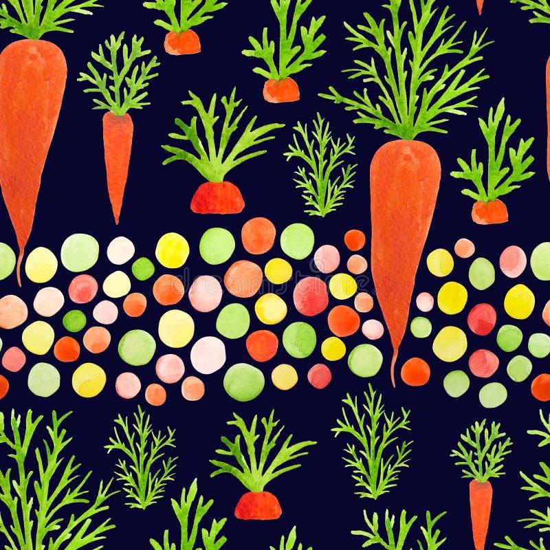 Modello senza cuciture luminoso con le carote dell'acquerello per le bambine, principesse, cui come giocare nel giardino Spirito  illustrazione di stock