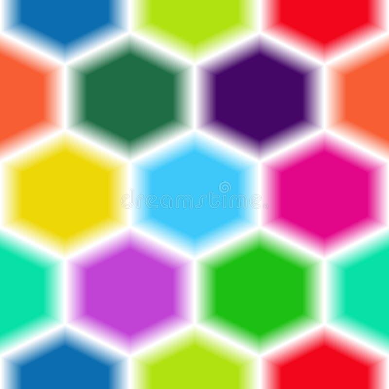 Modello senza cuciture luminoso degli esagoni multicolori illustrazione di stock
