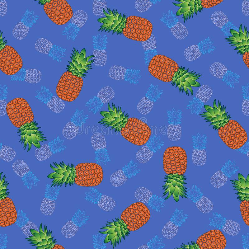 Modello senza cuciture luminoso su un fondo blu, vettore dell'ananas royalty illustrazione gratis