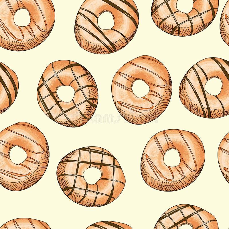 Modello senza cuciture lustrato delle guarnizioni di gomma piuma Illustrazione di vettore dell'alimento illustrazione di stock