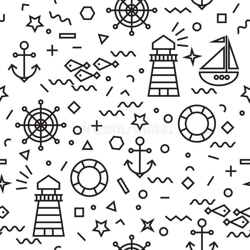 Modello senza cuciture marino con l'ancora e la barca a vela illustrazione di stock