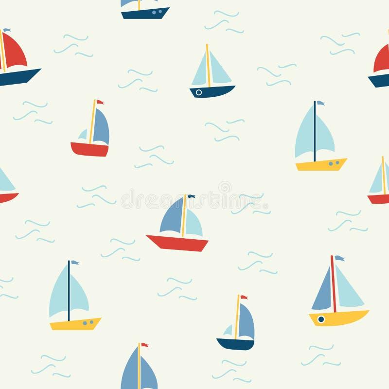Modello senza cuciture marino con le barche del fumetto su fondo bianco Fondo per i ragazzi illustrazione di stock