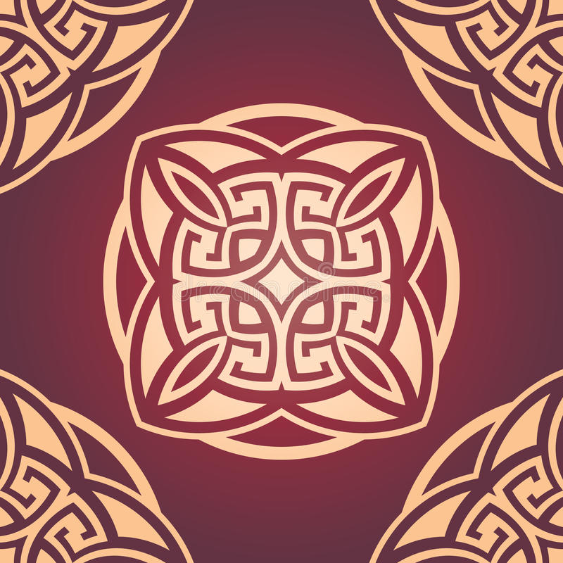 Modello senza cuciture marrone rossiccio del damasco royalty illustrazione gratis