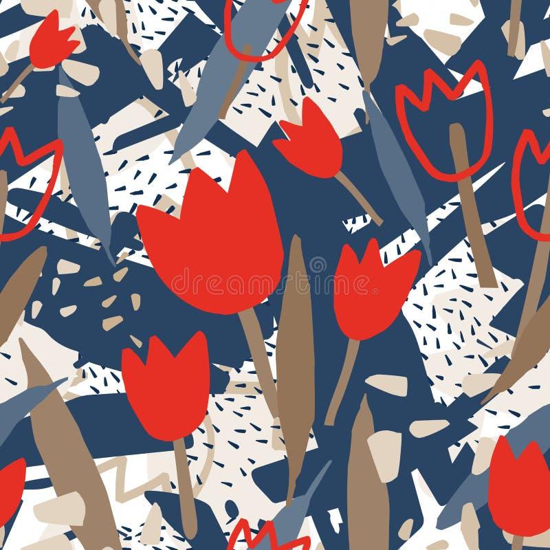 Modello senza cuciture moderno con le forme astratte approssimative ed i fiori di fioritura del tulipano Contesto floreale decora royalty illustrazione gratis
