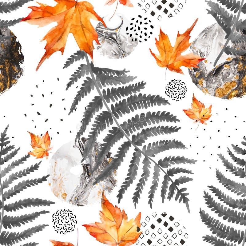 Modello senza cuciture moderno degli elementi floreali dell'acquerello e delle forme geometriche illustrazione vettoriale