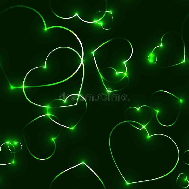 Modello senza cuciture molto scuro con i cuori verdi del laser illustrazione vettoriale