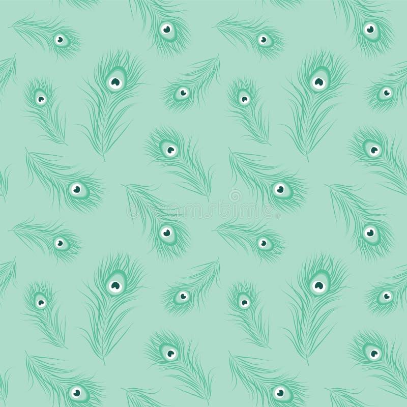Modello senza cuciture monocromatico della piuma del pavone illustrazione di stock