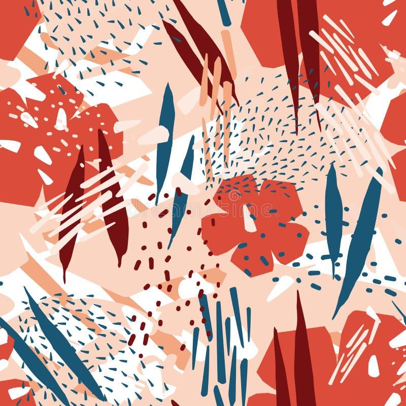 Modello senza cuciture naturale con i fiori di fioritura e macchie o macchie astratte Contesto floreale Vettore dipinto a mano illustrazione di stock