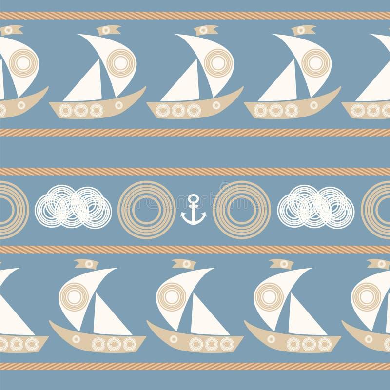 Modello senza cuciture nautico con la barca a vela royalty illustrazione gratis