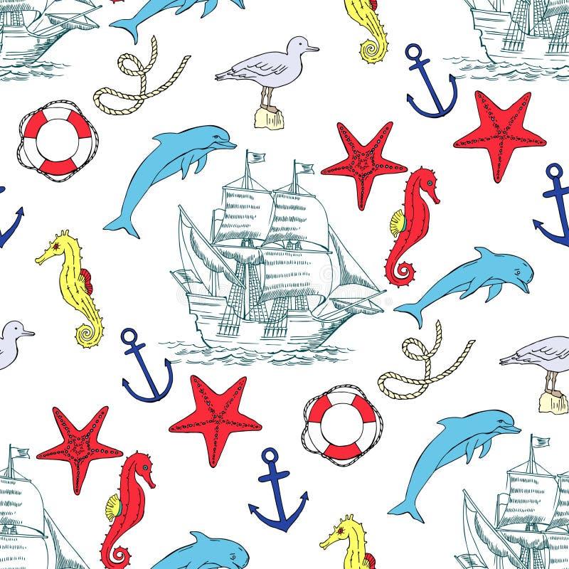 Modello senza cuciture nautico con le imbarcazioni a vela illustrazione di stock