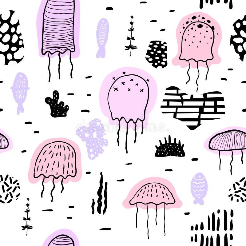 Modello senza cuciture nautico con le meduse nello stile puerile Fondo subacqueo delle creature del mare con gli elementi astratt illustrazione di stock