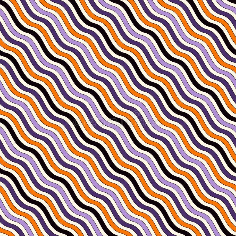 Modello senza cuciture nei colori tradizionali di Halloween Carta digitale a strisce diagonale ondulata illustrazione vettoriale