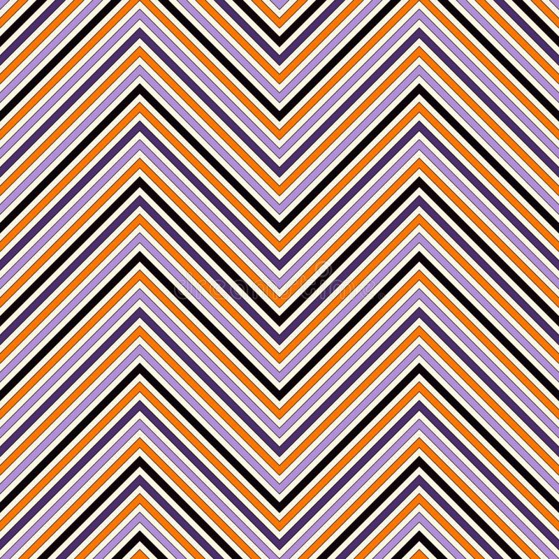 Modello senza cuciture nei colori tradizionali di Halloween La diagonale luminosa di colori di Chevron allinea il fondo astratto illustrazione vettoriale