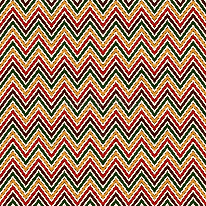 Modello senza cuciture nei colori tradizionali di Natale Linee luminose della diagonale di colori di Chevron illustrazione vettoriale