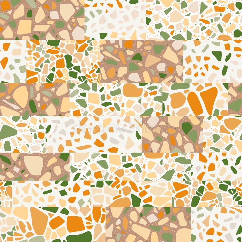 Modello senza cuciture nello stile di terrazzo Fondo della rappezzatura Superficie di pietra del mosaico illustrazione vettoriale